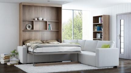 Schrankbett Wandbett mit Ecksofa Leggio Linea MK I STD-STD Premium
