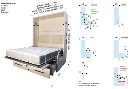Schrankbett Wandbett mit Sofa WBS 1 Soft Basic
