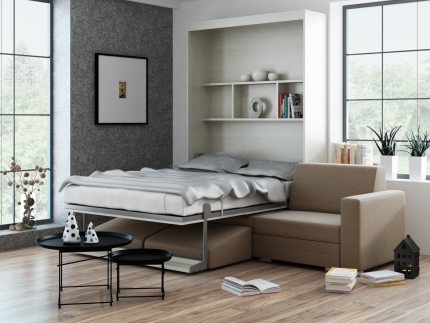 Schrankbett Wandbett mit Sofa Leggio Linea Tondo Dlugie XL Basic