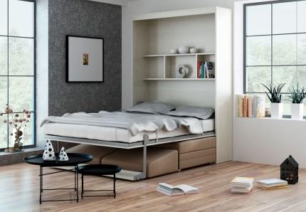 Schrankbett Wandbett mit Sofa Leggio Linea Tondo Classic STD Claims